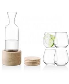 Lsa 10-Piece Water/Wine Carafe & Oak Coaster Set