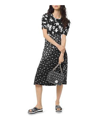 Michael Michael Kors Mixed Floral-Print Midi Dress