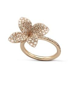 Pasquale Bruni 18K Rose Gold Secret Garden Pave Diamond Four Petal Flower Ring