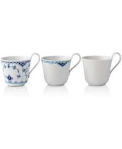 Royal Copenhagen History Lace Mug, Set of 3