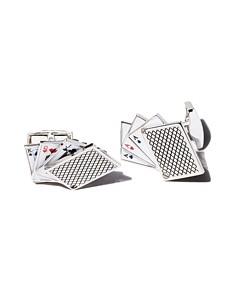 Tateossian Rhodium Odd Pair Card Cufflinks