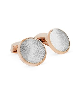 Tateossian Rose Gold Mother of Pearl Etched Circle Cufflinks