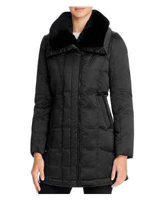 Trina Turk Adrianna Rabbit Fur Trim Down Coat