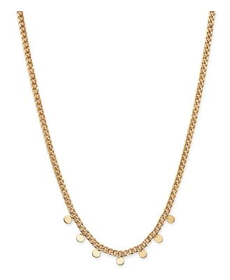 Zoe Chicco 14K Yellow Gold Itty Bitty Dangling Discs Curb Chain Necklace, 16