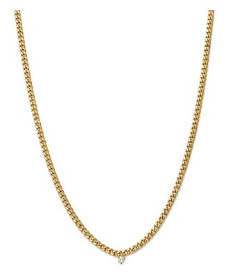 Zoe Chicco 14K Yellow Gold Small Curb Chain Diamond Necklace, 16