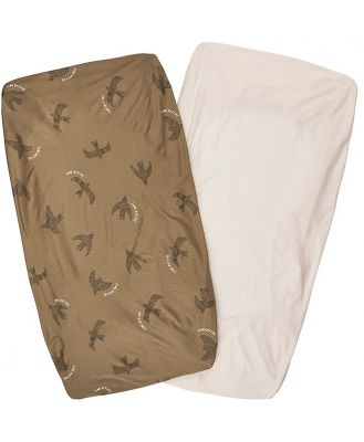 Bonds Baby Fitted Cot Sheet 2 Pack in Time Outside Spice Khaki