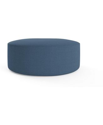 Alexa Large Round Ottoman Atlantic Blue