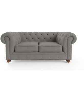 Camden Chesterfield 2 Seater Sofa Stone Grey