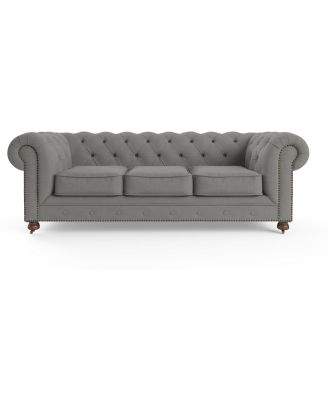 Camden Chesterfield 3 Seater Sofa Stone Grey
