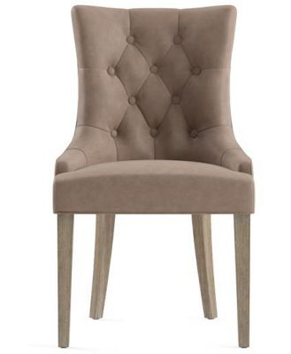 Espen Leather Scoop Back Dining Chair Taupe Wire Brushed Solid Beech