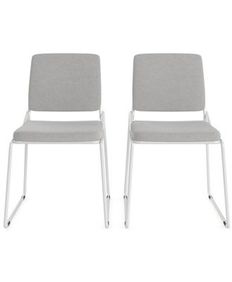 Glasser Set of 2 Dining Chairs White Storm Grey