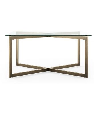 Kipling Glass Top Coffee Table Tempered Glass Gold Copper