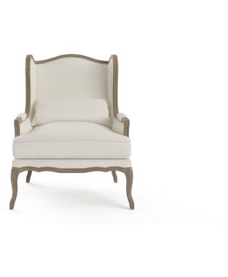 Marion Wingback Armchair Wire Brushed Solid Oak Classic Cream Classic Cream