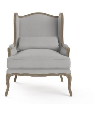 Marion Wingback Armchair Wire Brushed Solid Oak Cloud Grey Cloud Grey