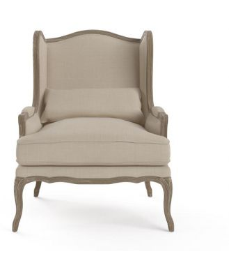 Marion Wingback Armchair Wire Brushed Solid Oak French Beige French Beige
