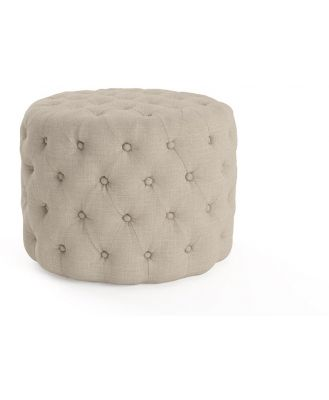 Marken Small Round Ottoman French Beige