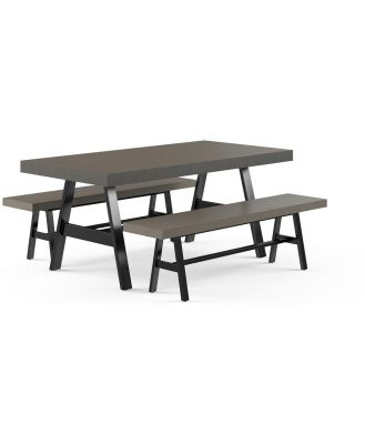 Smeaton Outdoor Dining Table and Bench Set Warm Grey Concrete Warm Grey Concrete