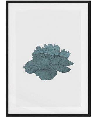 The Flowering Print Black Wood Frame Small Turquoise