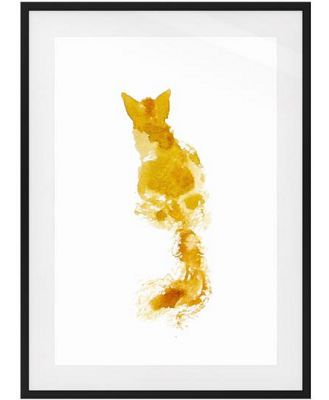 The Golden Cat Print Black Wood Frame