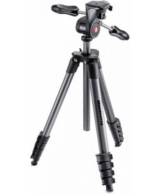 Manfrotto MKCOMPACTADV-BK Compact Advanced Black Tripod with 3 Way Head & Carry Bag