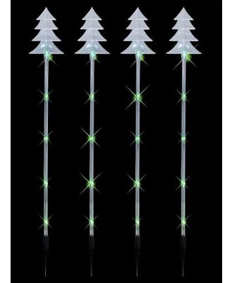 4 x Tree Tube Lighting Connect Stake with 20 Green bulbs - 70cm