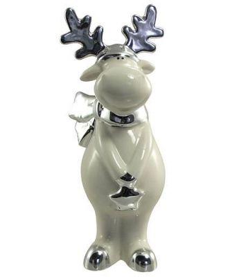 White Winter Ceramic Reindeer With Star - 20cm