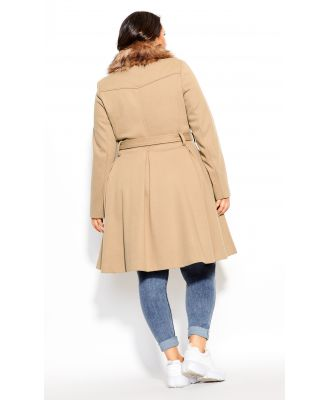 Plus Size Coat Blushing Belle Taupe, Size 16/S City Chic