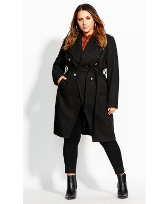 Plus Size Coat Sassy Military in Black, Size 14/XS City Chic