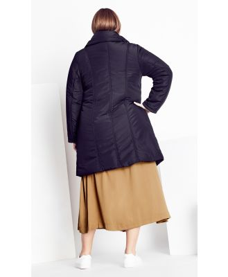 Plus Size Puffer Jacket Vibes 24/XXL in Black, Size 12/2XS City Chic
