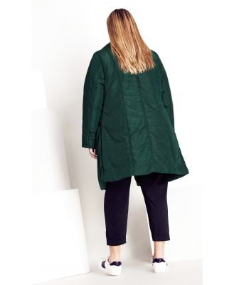 Plus Size Puffer Jacket Vibes in Ponderosa Pine, Size 12/2XS City Chic