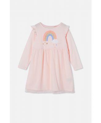Cotton On Kids - Darcy Flutter Long Sleeve Nightie - Golden rainbow /crystal pink