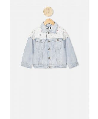 Cotton On Kids - Emmy Spliced Trucker Jacket - Bleach wash/floral fields