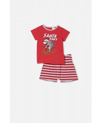 Cotton On Kids - Hudson Short Sleeve Pyjama Set - Santa jaws lucky red