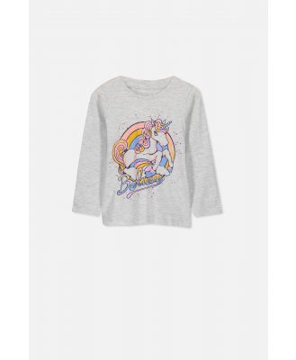Cotton On Kids - Penelope Long Sleeve Tee - Summer grey marle believe unicorn set in