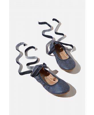 Cotton On Kids - Primo Ballet Flat - Navy velvet ribbon