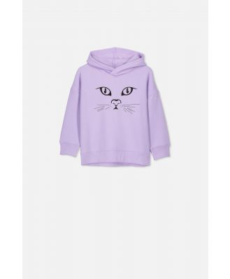Cotton On Kids - Scarlett Hoodie - Baby lilac/cat face/drop