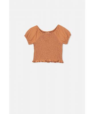 Cotton On Kids - Silvia Short Sleeve Shirred Top - Amber brown