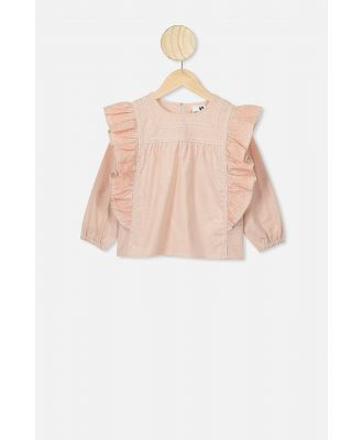 Cotton On Kids - Stella Long Sleeve Top - Peach whip/pastel peach embroidery