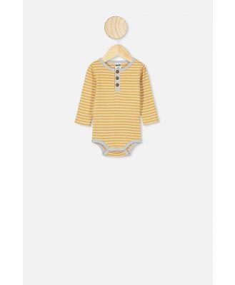 Cotton On Kids - The Long Sleeve Placket Bubbysuit - Ash stripe vintage honey/cloud marle bind