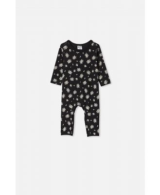 Cotton On Kids - The Long Sleeve Snap Romper - Black olivia white floral