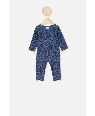Cotton On Kids - The Long Sleeve Snap Romper - Petty blue summer ocelot