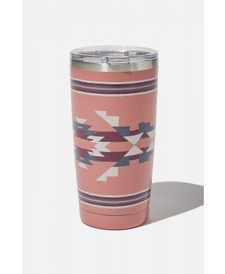 Cotton On Men - Large Stainless Steel Tumbler - Pink ikat