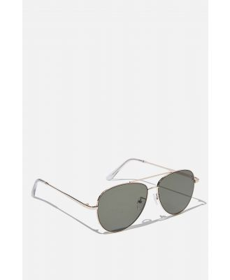 Cotton On Men - Marshall Sunglasses - Gold clear green flat