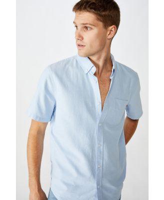 Cotton On Men - Vintage Prep Short Sleeve Shirt - Sky blue oxford