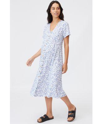 Cotton On Women - Maternity Woven Button Front Ss Midi Dress - Cora ditsy white