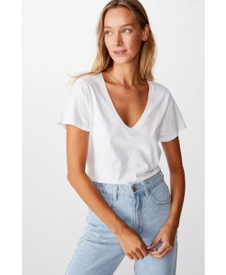 Cotton On Women - The One Fitted V Tee - White