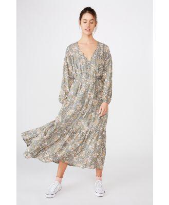 Cotton On Women - Woven Jacinta Maxi Dress - Emily paisley floral oil green