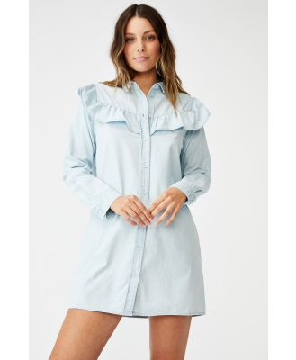 Cotton On Women - Woven Jade Long Sleeve Ruffle Shirt Mini Dress - Chambray blue
