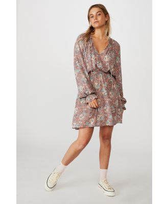 Cotton On Women - Woven Kasey Long Sleeve Smock Dress - Emily floral paisley canyon clay