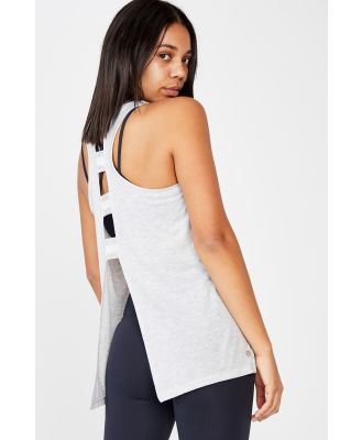 Body - Active Elastic Back Tank Top - Light grey marle